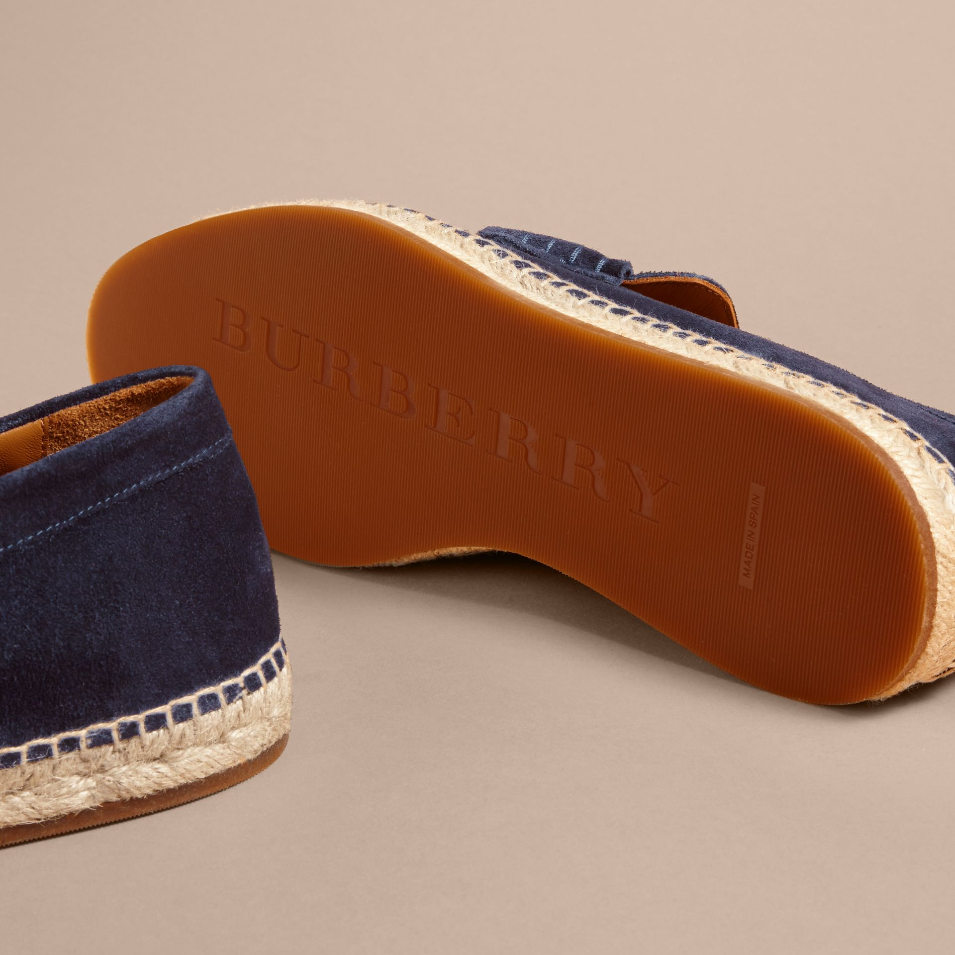 Tasselled Suede Espadrille Loafers Midnight Blue - gallery image 5