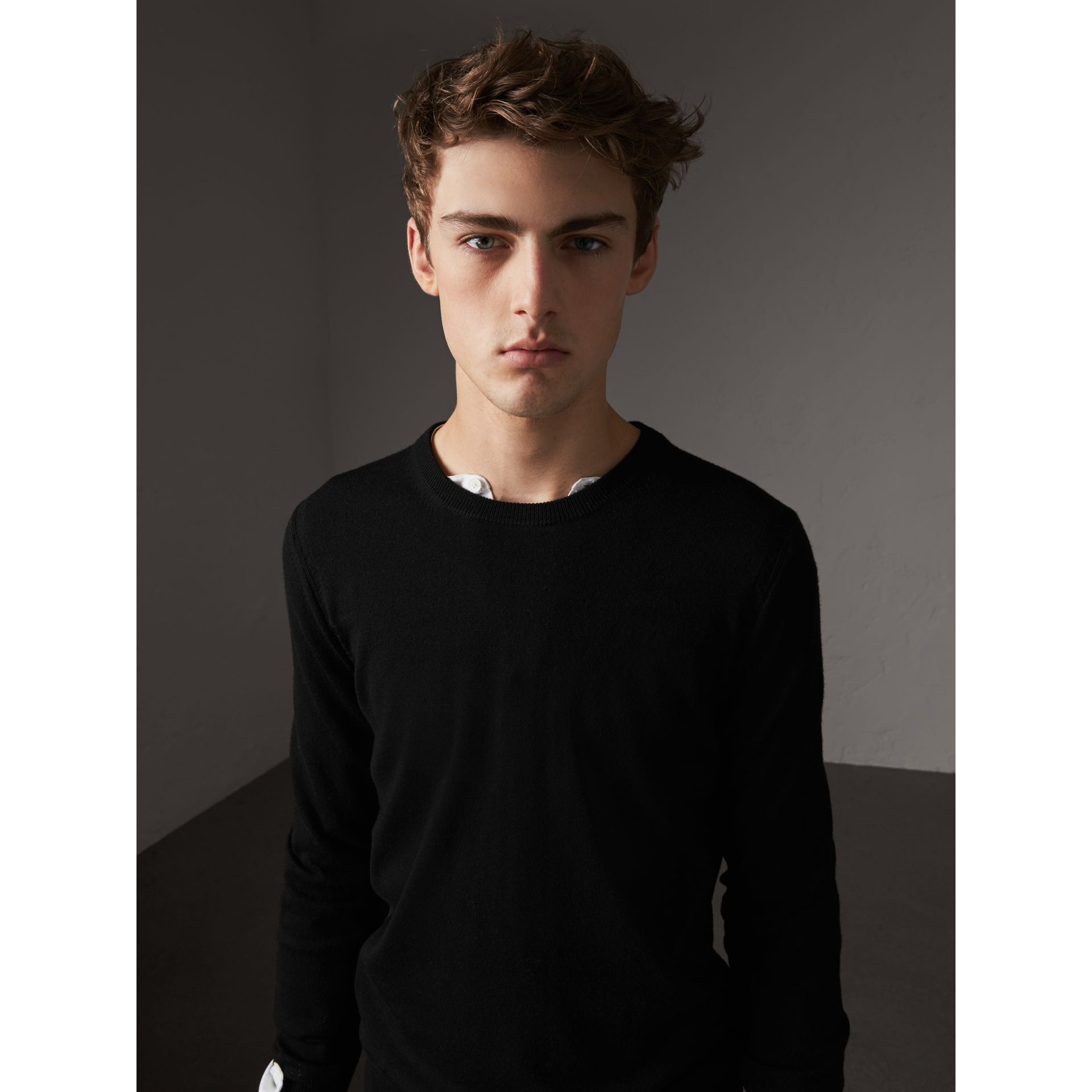 Check Trim Cashmere Cotton Sweater in Black - Men | Burberry - gallery image 2