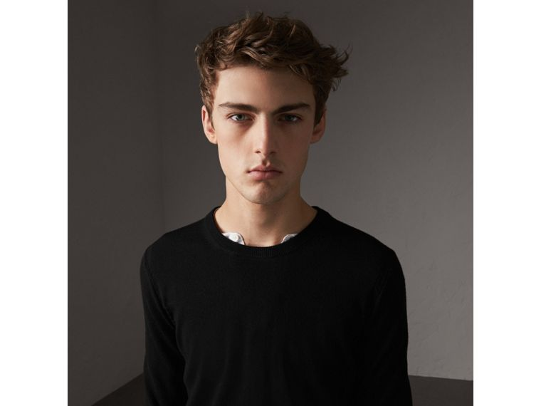 Check Trim Cashmere Cotton Sweater in Black - Men | Burberry - cell image 1
