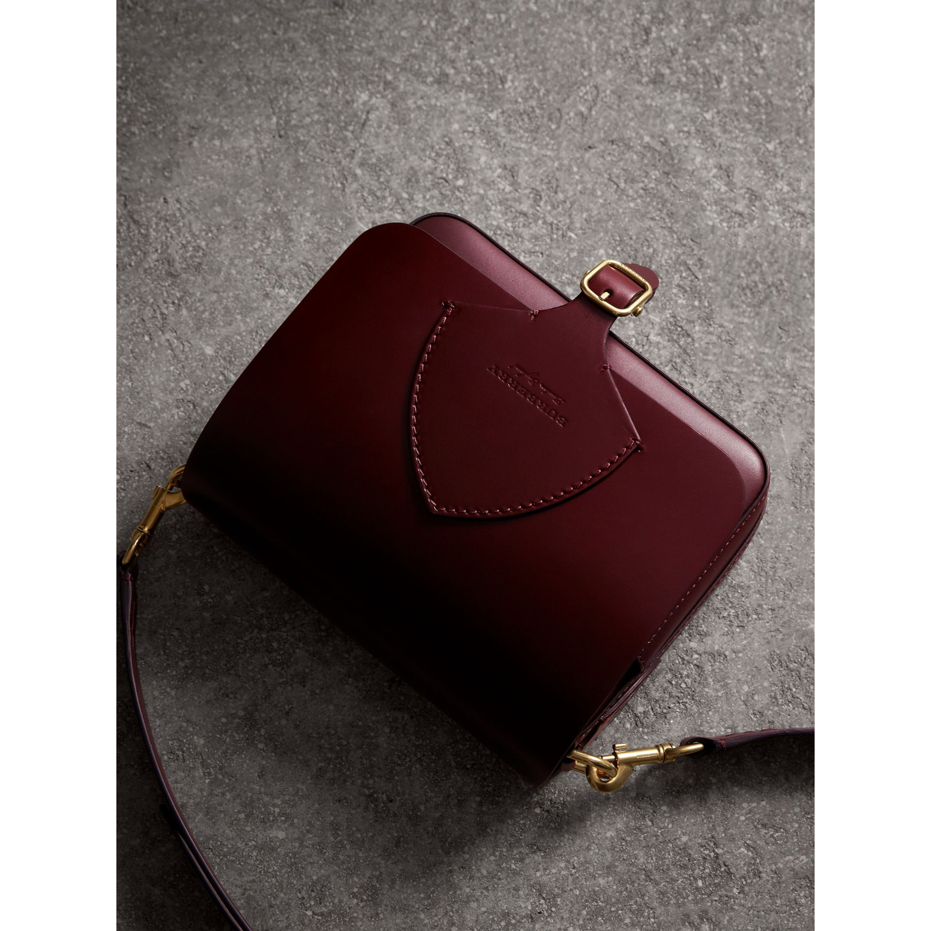 The Square Satchel in Bridle Leather in Deep Claret - Women | Burberry United Kingdom - gallery image 5