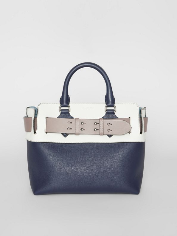 The Small Quadri-tone Leather Belt Bag in Regency Blue/chalk White