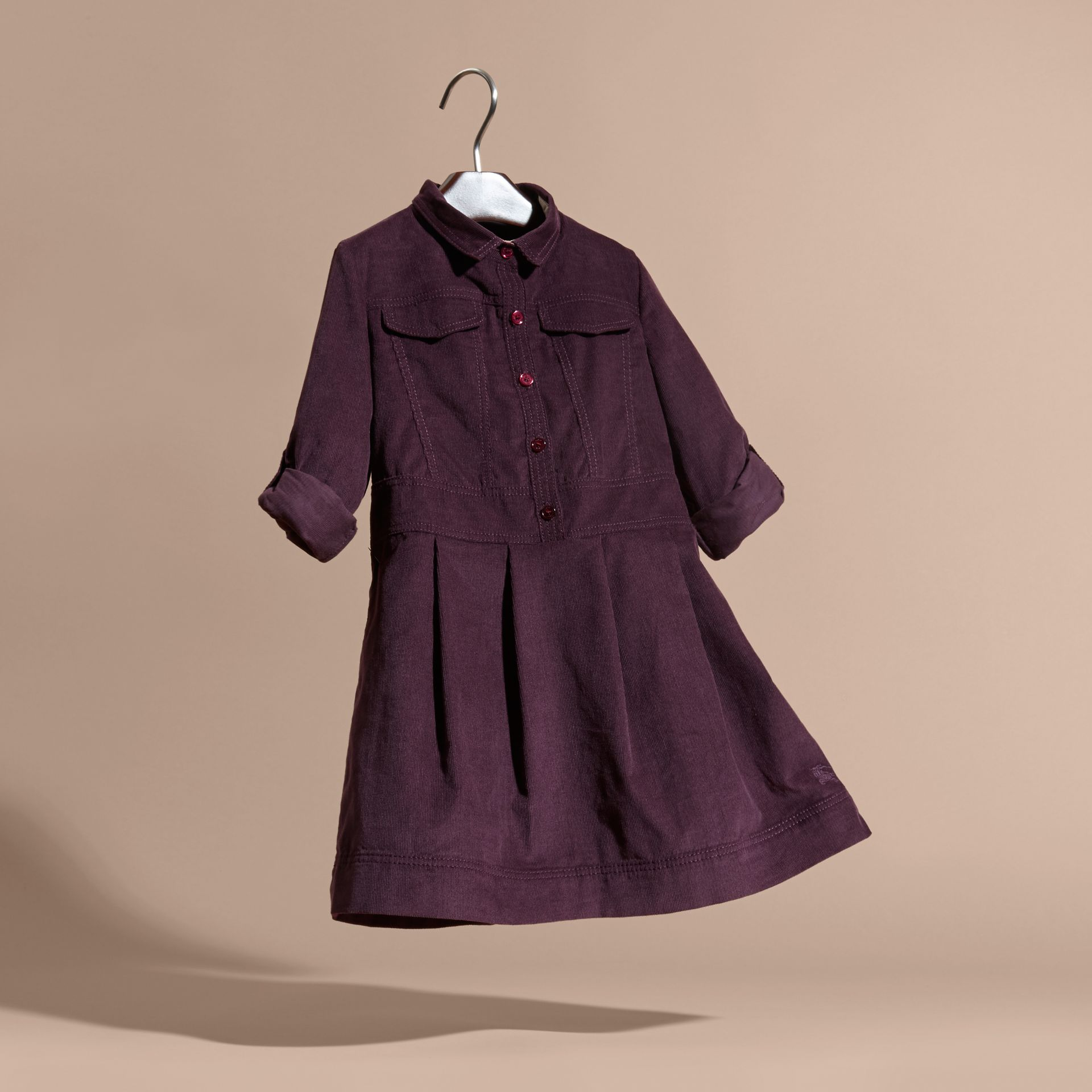 Blackcurrant Cotton Corduroy Shirt Dress Blackcurrant - gallery image 3