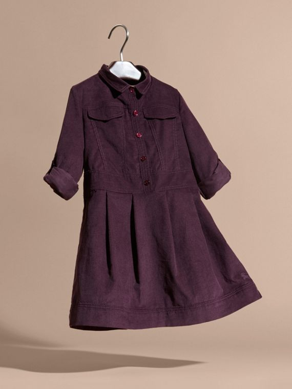 Blackcurrant Cotton Corduroy Shirt Dress Blackcurrant - cell image 2