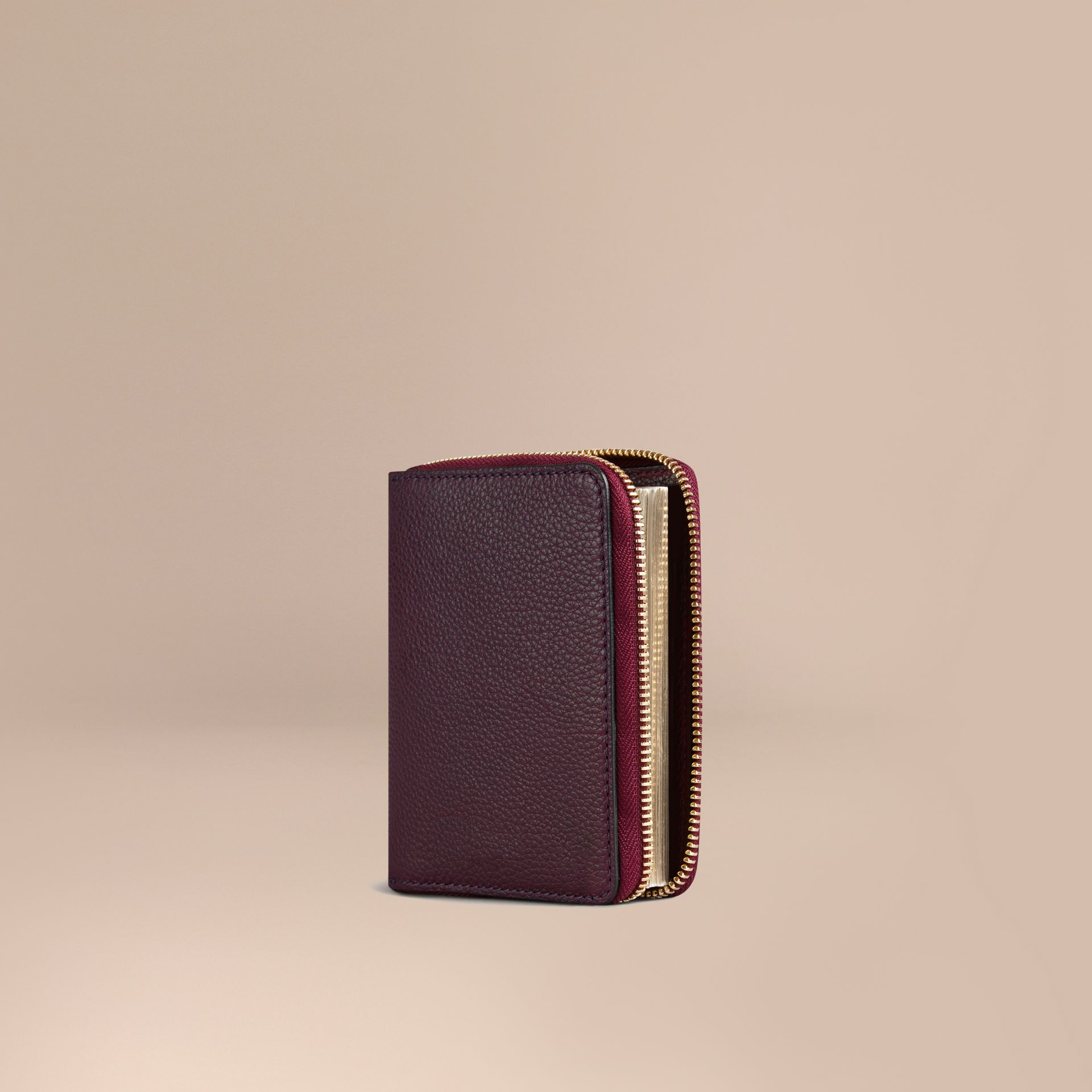 Ziparound Grainy Leather Mini Notebook in Dark Amethyst | Burberry Canada - gallery image 1