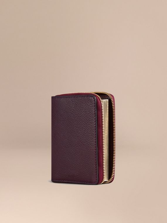 Ziparound Grainy Leather Mini Notebook in Dark Amethyst