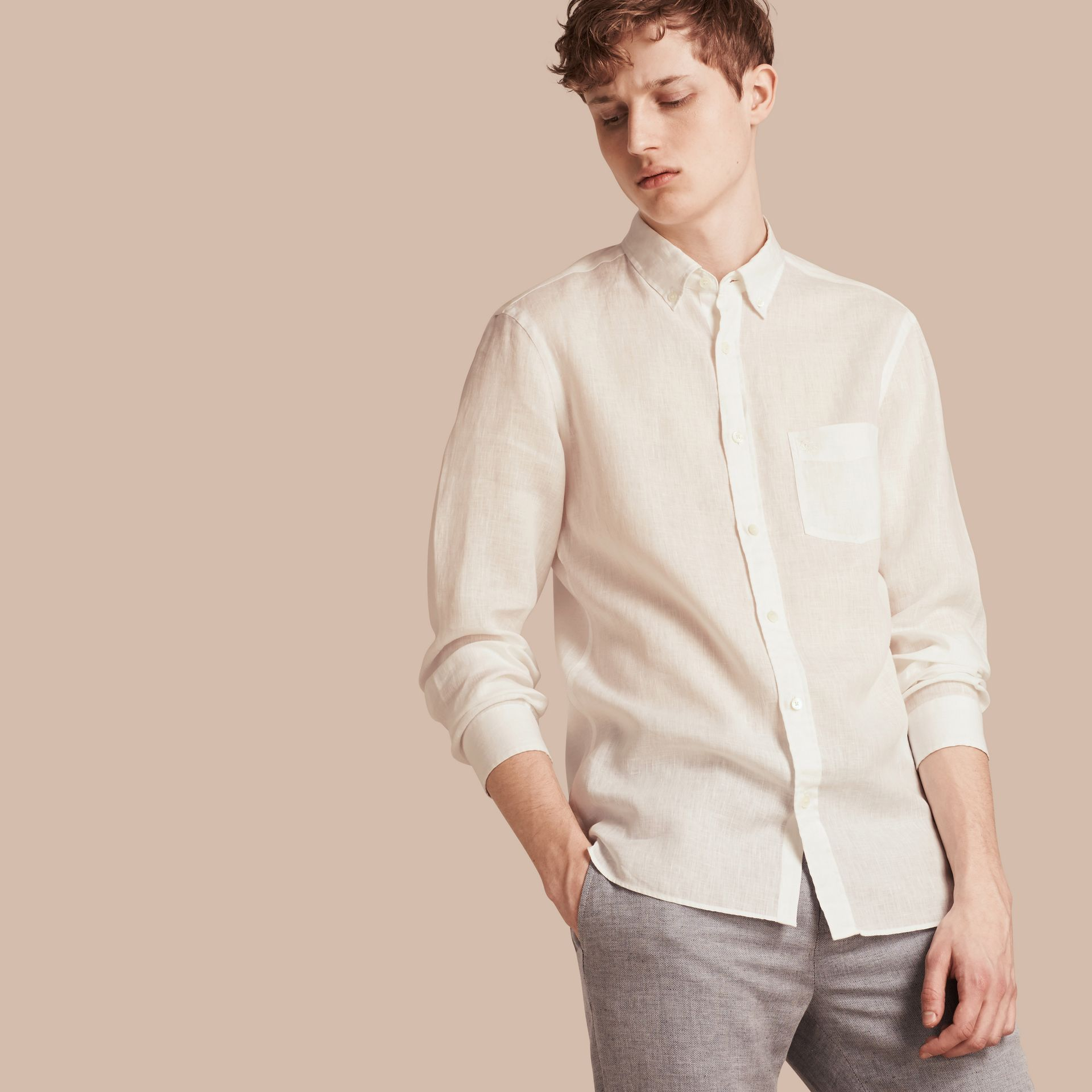 White Button-down Collar Linen Shirt White - gallery image 1