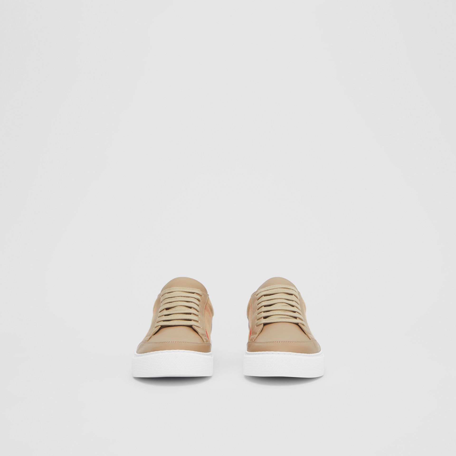 House Check and Leather Sneakers in Tan - Women | Burberry United Kingdom - gallery image 3