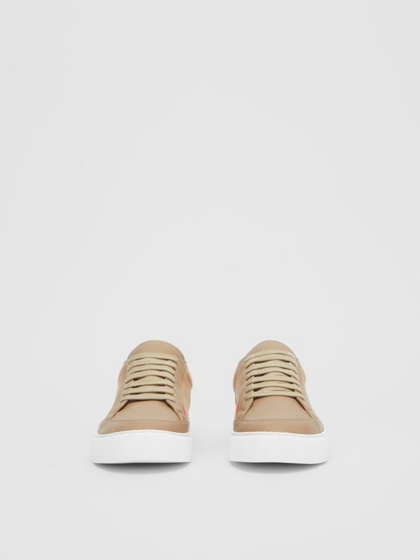House Check and Leather Sneakers in Tan - Women | Burberry - cell image 3