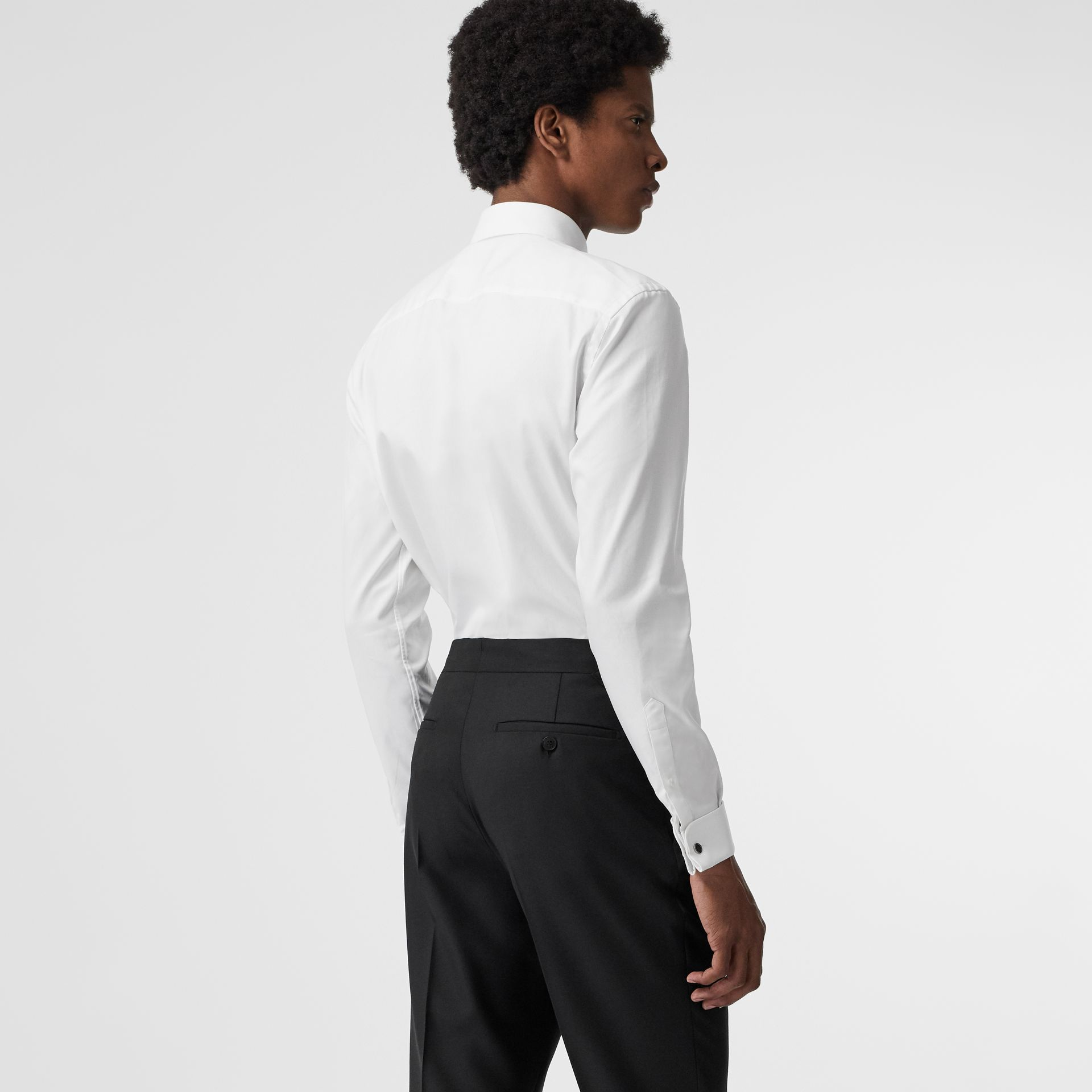 Modern Fit Double Cuff Cotton Shirt in White - Men | Burberry - gallery image 2