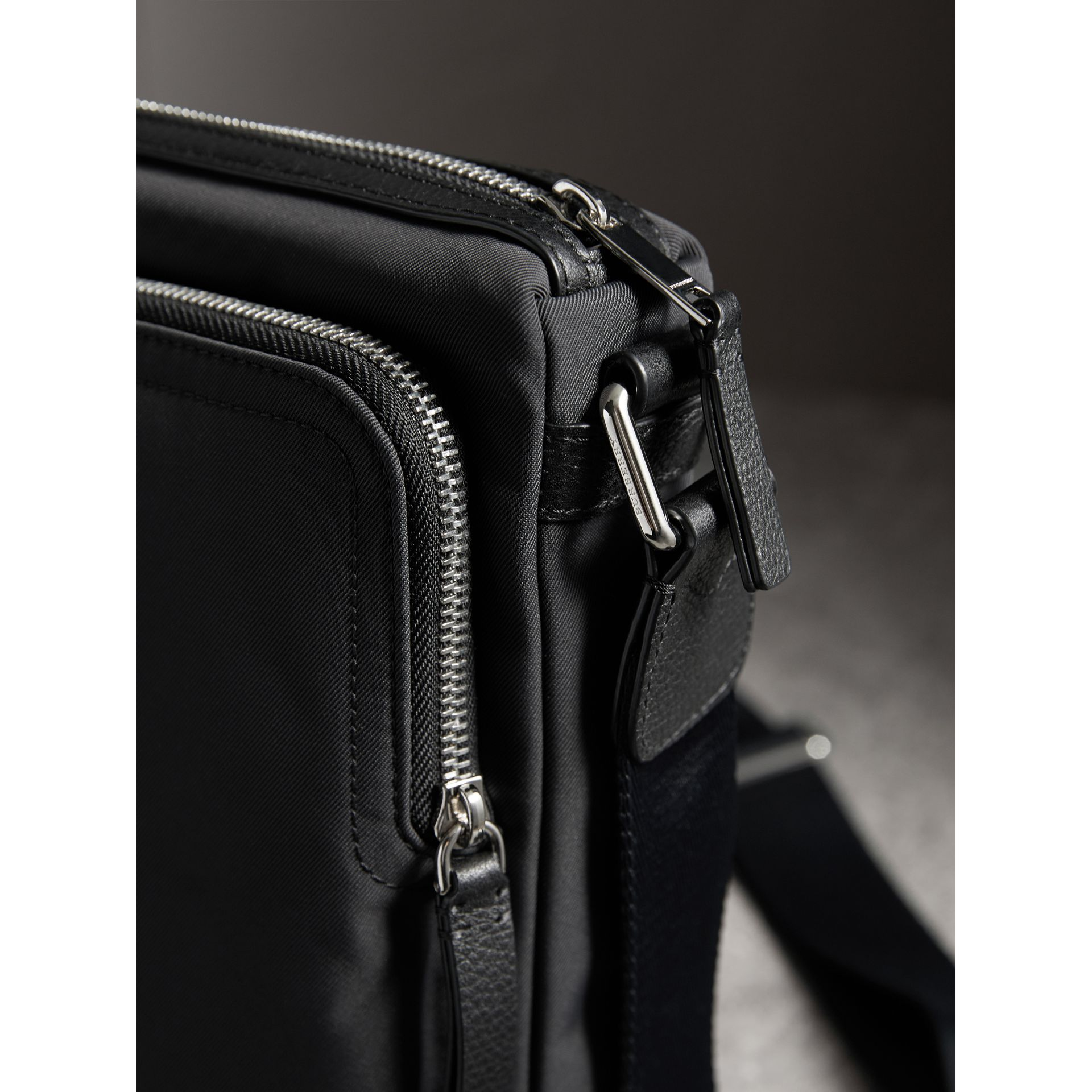 Small Technical Crossbody Bag with Leather Trim in Black - Men | Burberry - gallery image 2