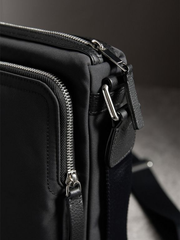 Small Technical Crossbody Bag with Leather Trim in Black - Men | Burberry - cell image 1