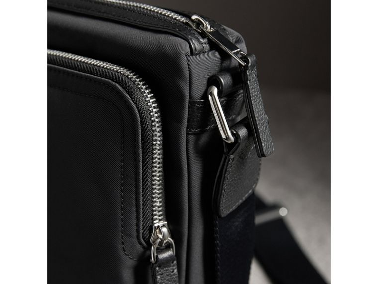 Small Technical Crossbody Bag with Leather Trim in Black - Men | Burberry Canada - cell image 1