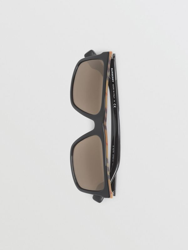 Vintage Check Detail Straight-brow Sunglasses in Antique Yellow - Men | Burberry Hong Kong - cell image 3