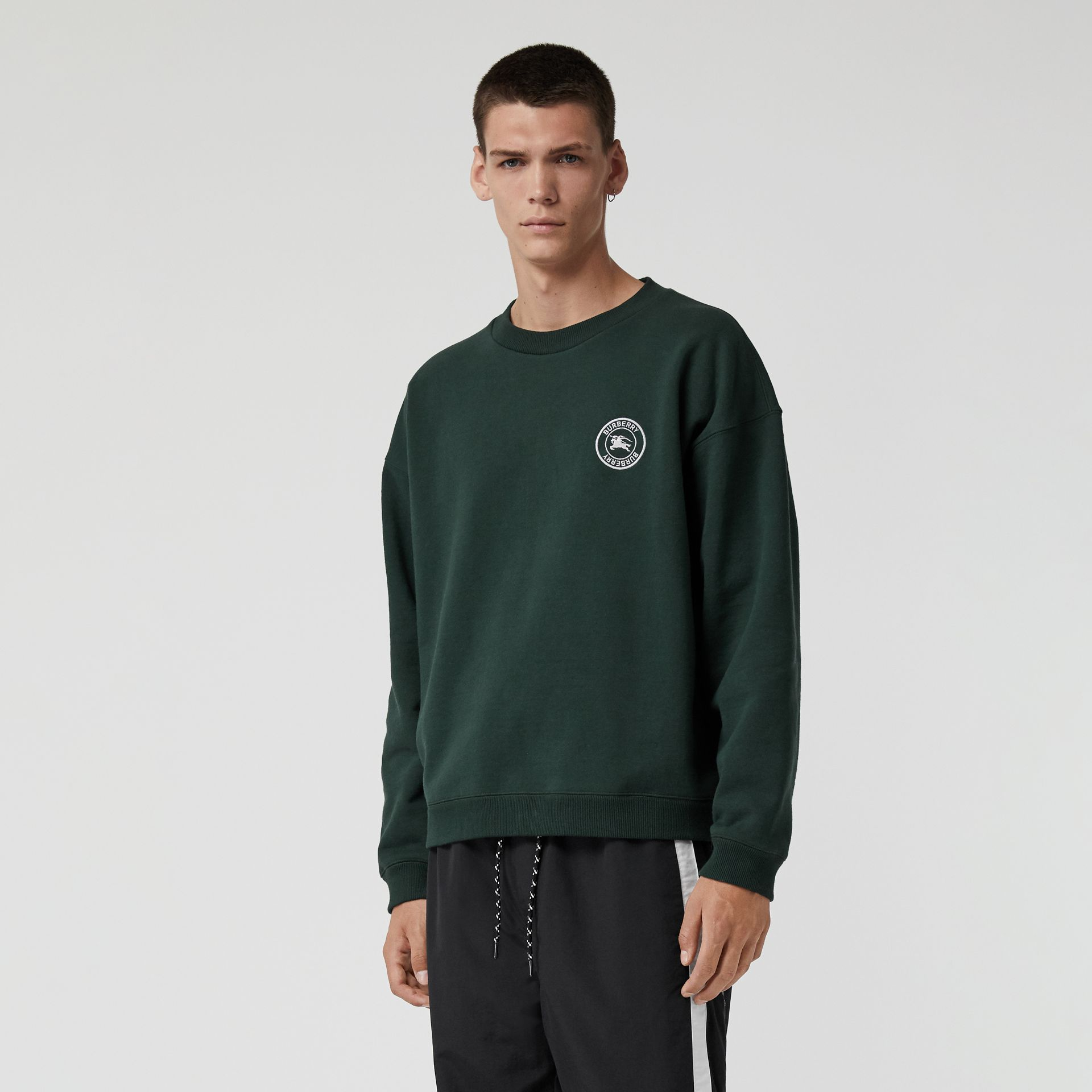 Embroidered Logo Jersey Sweatshirt in Forest Green - Men | Burberry Australia - gallery image 4