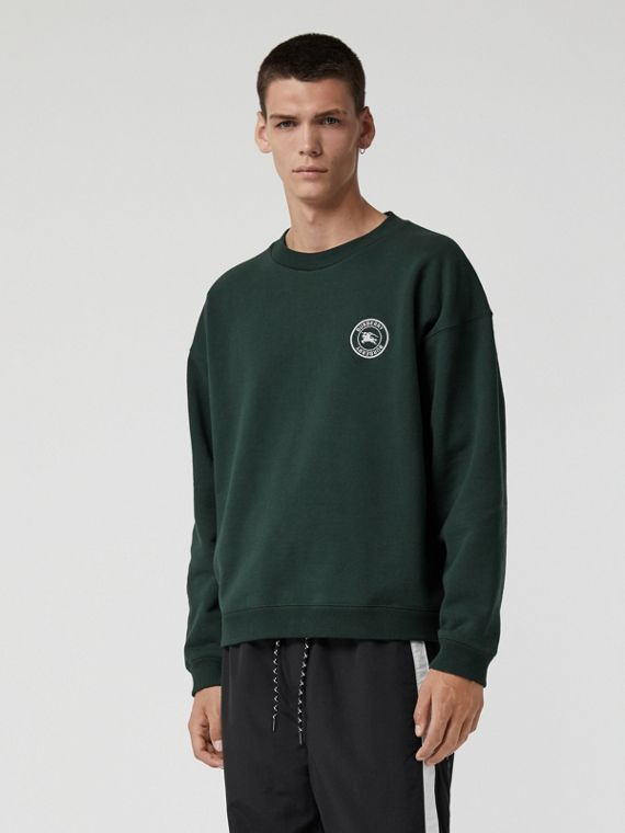 Embroidered Logo Jersey Sweatshirt in Forest Green