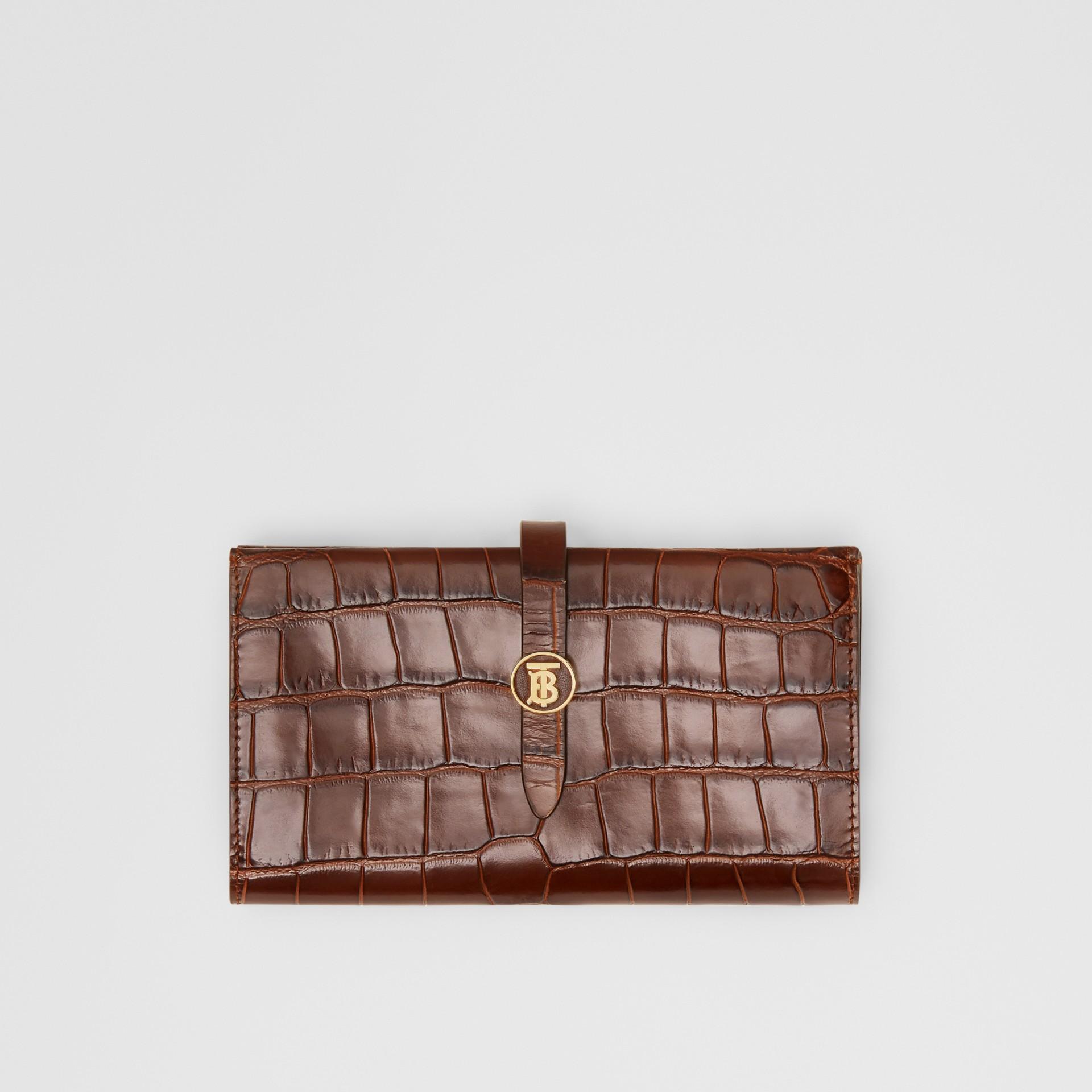 Monogram Motif Embossed Leather Folding Wallet in Tan - Women | Burberry - gallery image 0