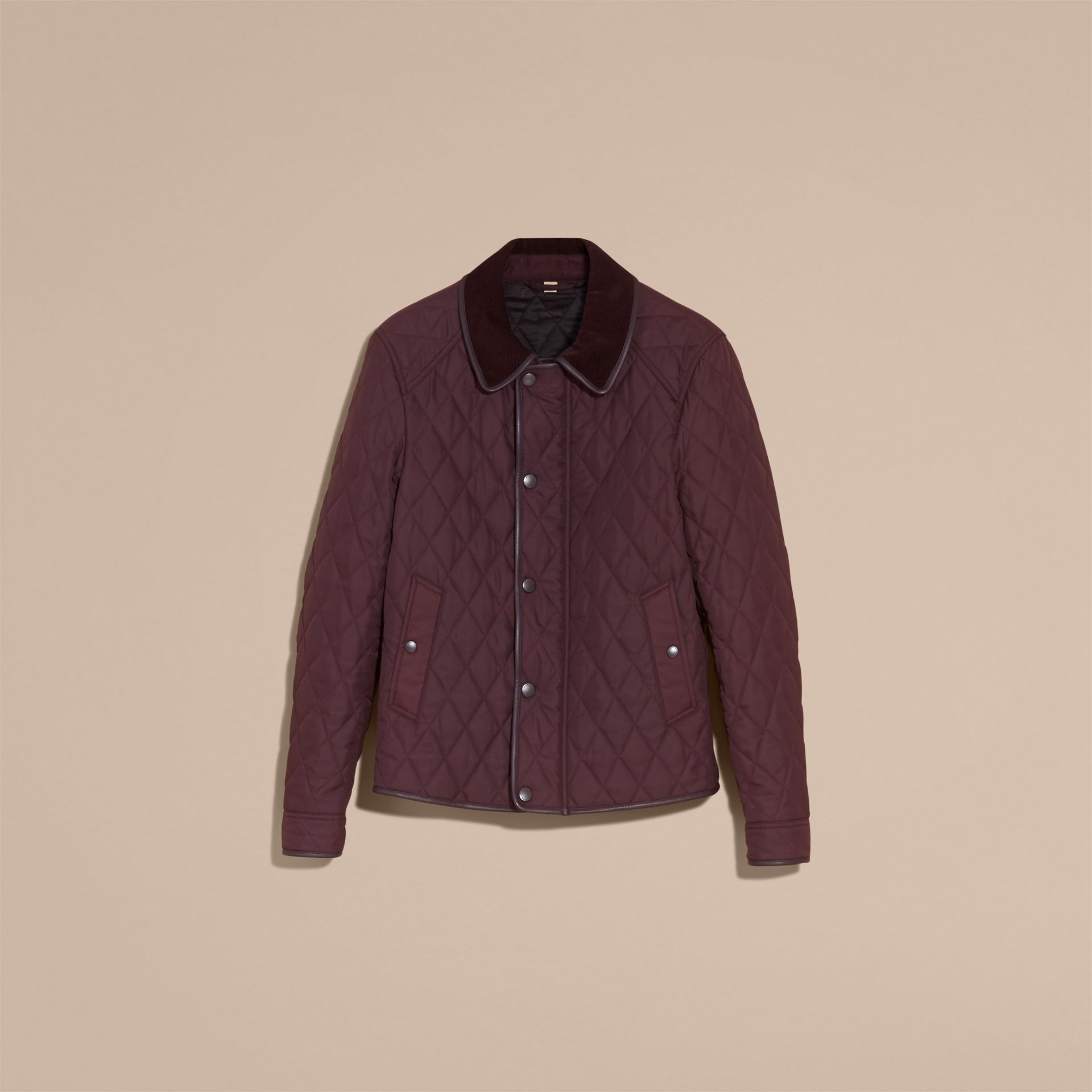 Leather Piping Corduroy Collar Quilted Jacket Claret - gallery image 4
