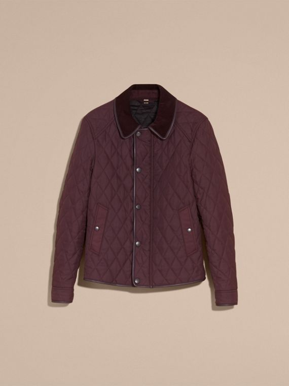 Leather Piping Corduroy Collar Quilted Jacket Claret - cell image 3