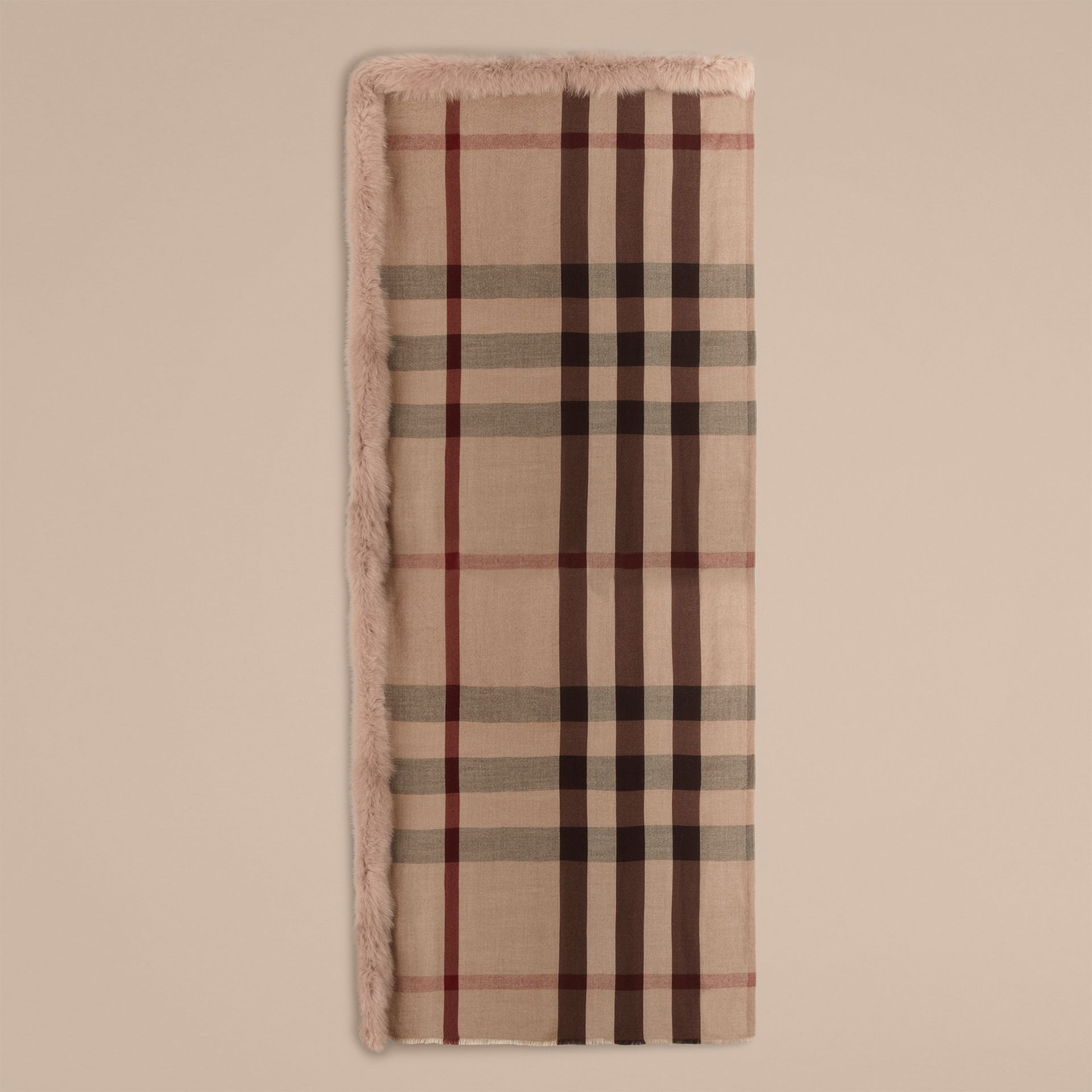 Smoked trench check Fur Trim Cashmere Check Scarf Smoked Trench - gallery image 4
