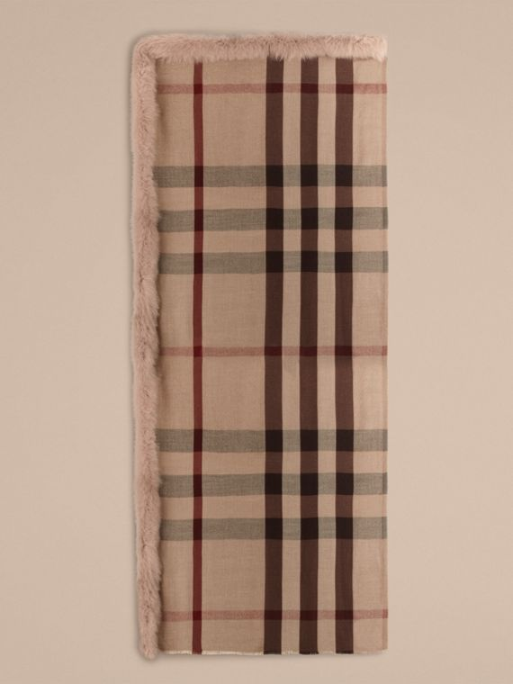 Smoked trench check Fur Trim Cashmere Check Scarf Smoked Trench - cell image 3