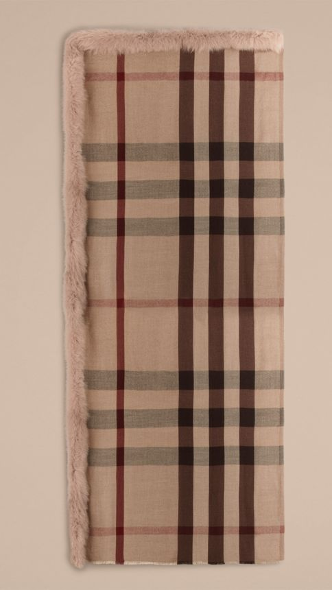 Smoked trench check Fur Trim Cashmere Check Scarf Smoked Trench - Image 4