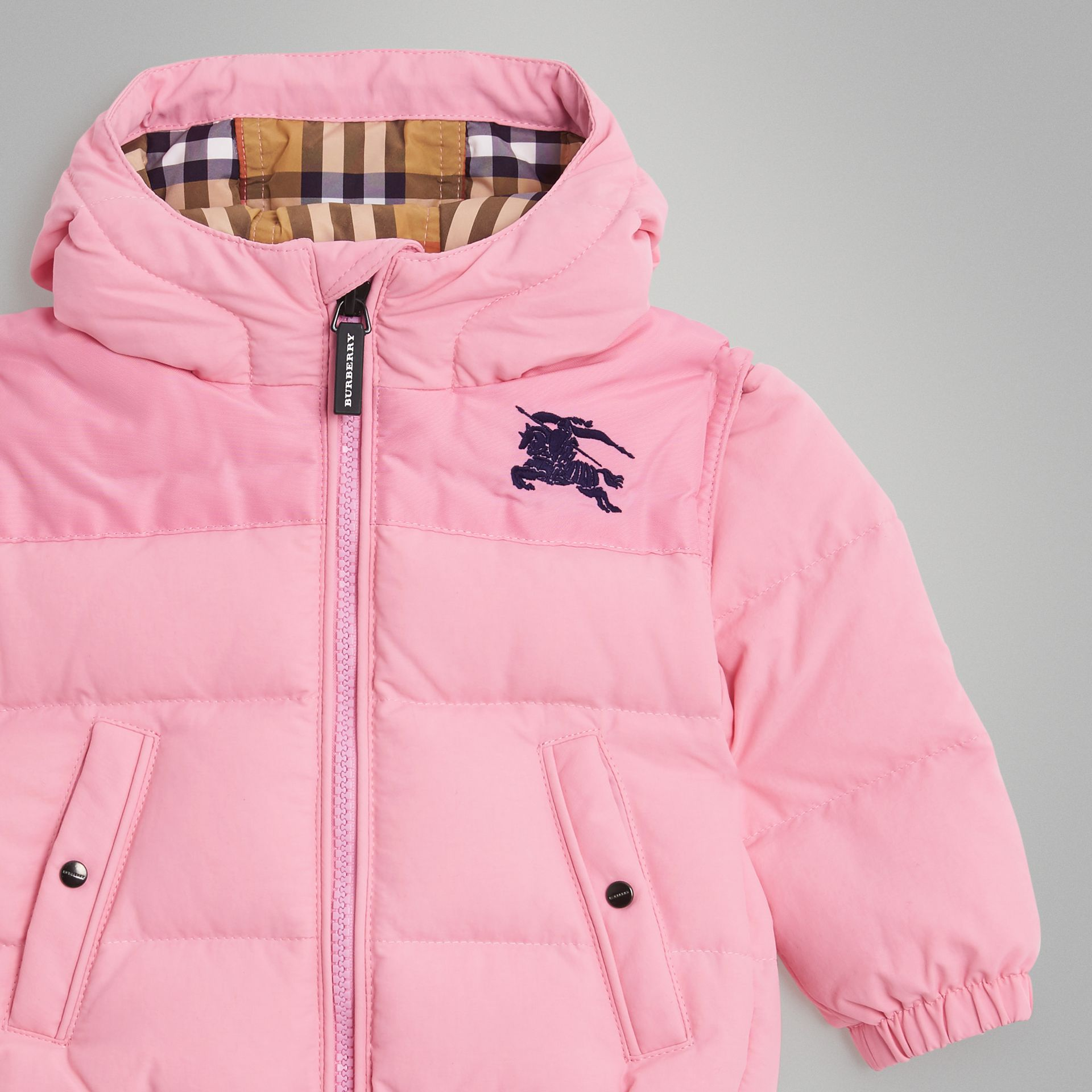 Down-filled Hooded Puffer Jacket in Ice Pink - Children | Burberry Singapore - gallery image 4