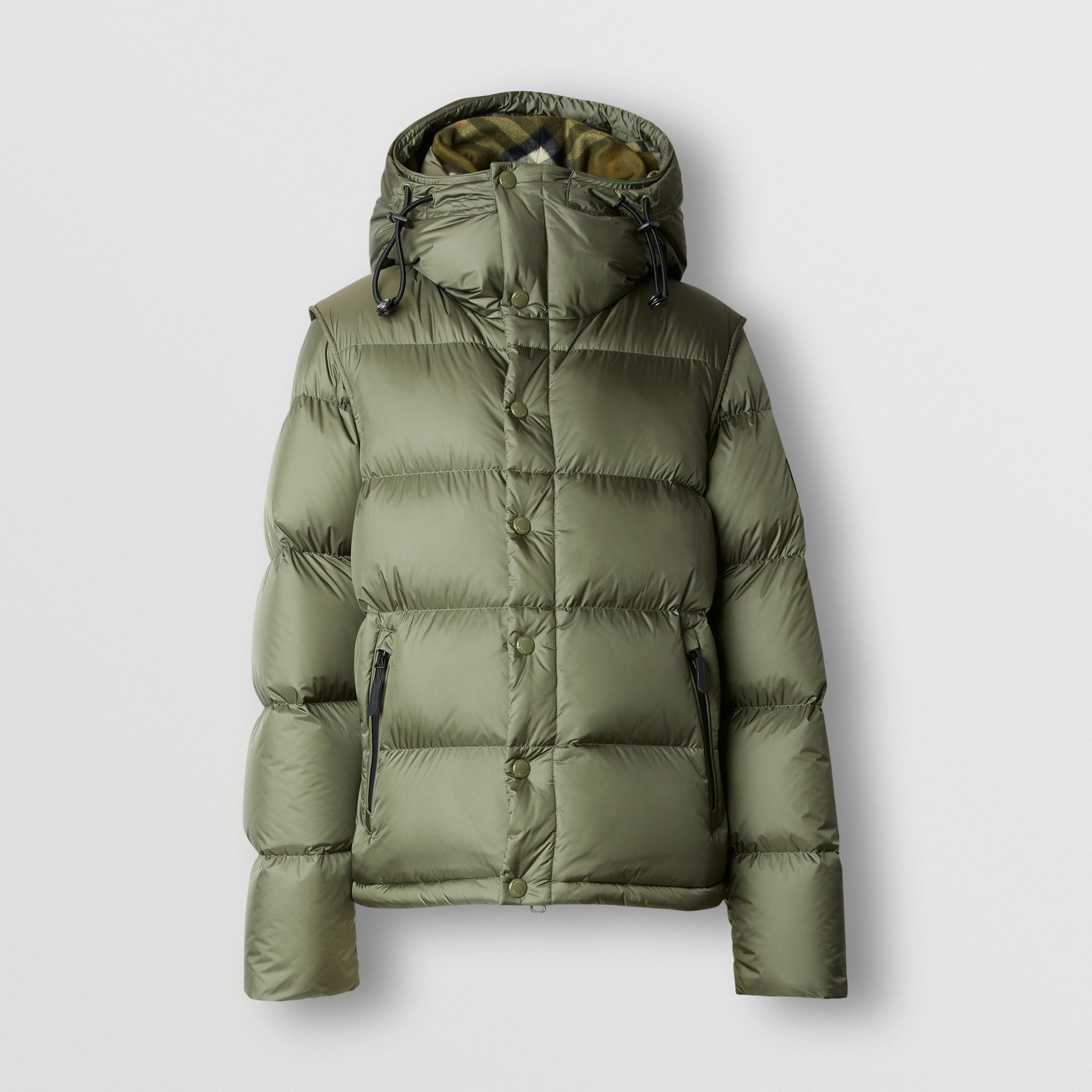 Detachable Sleeve Hooded Puffer Jacket in Olive - Men | Burberry - 4