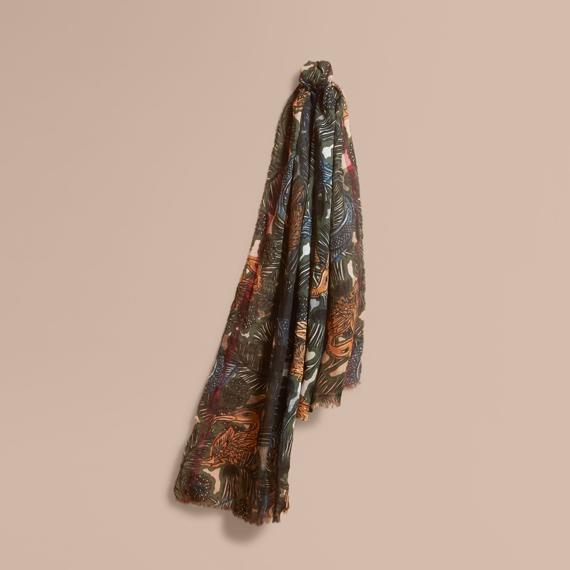 Beasts Print and Check Linen Scarf in Camel   Burberry - gallery image 1