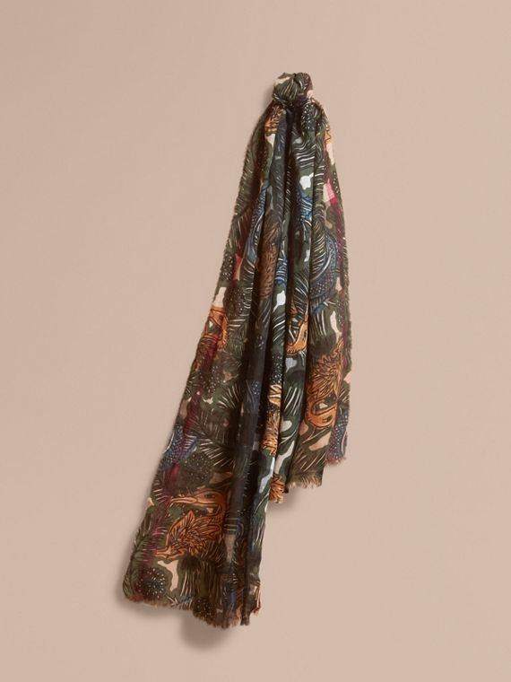 Beasts Print and Check Linen Scarf in Camel | Burberry Singapore