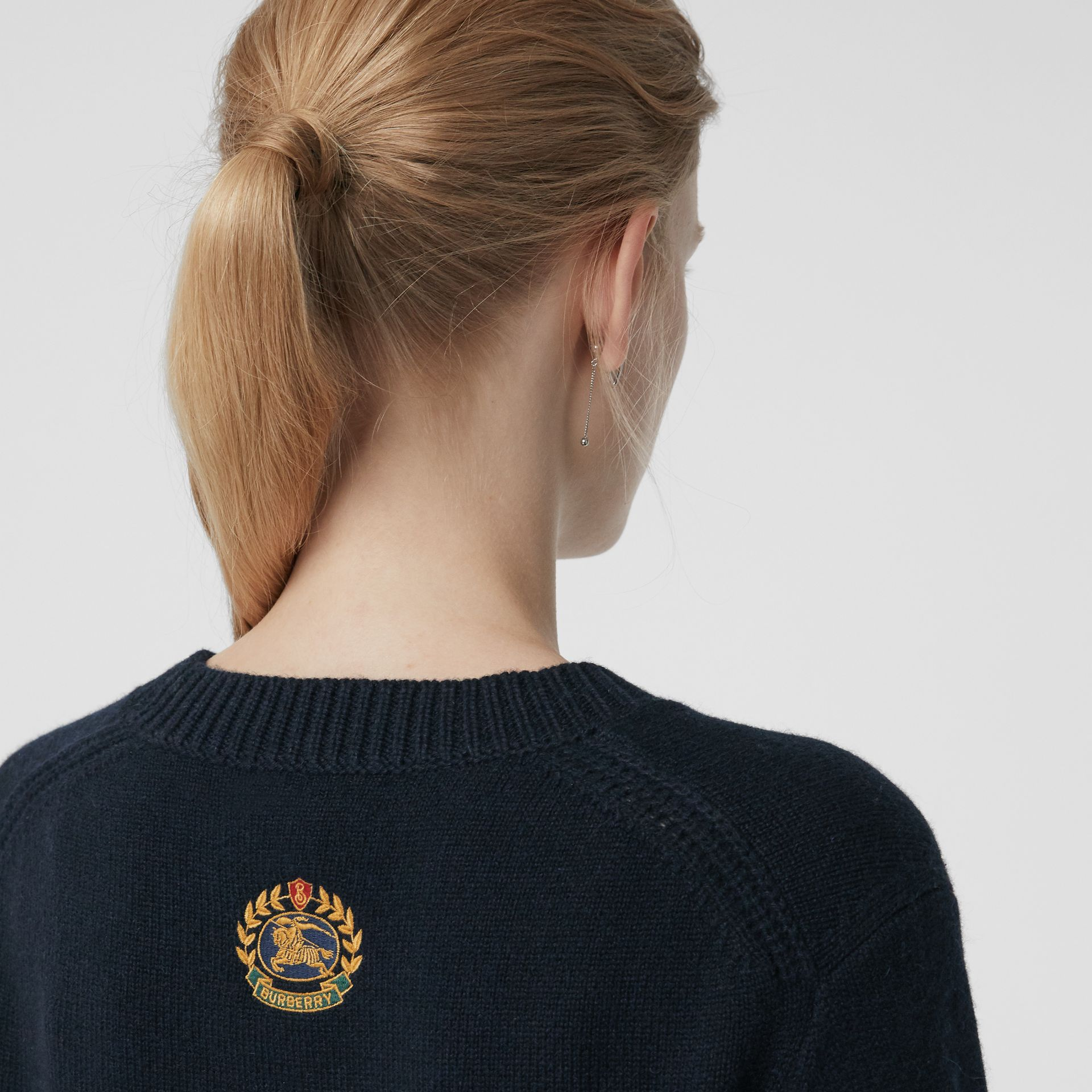 Archive Logo Appliqué Cashmere Sweater in Navy - Women | Burberry Canada - gallery image 1