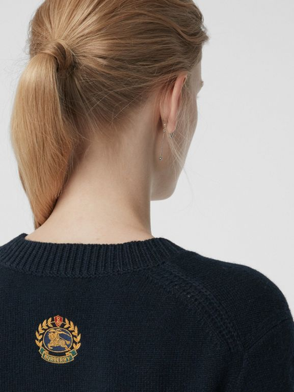 Archive Logo Appliqué Cashmere Sweater in Navy - Women | Burberry Canada - cell image 1