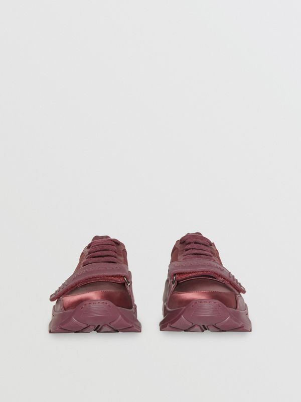 Satin Sneakers in Claret - Women | Burberry United Kingdom - cell image 3