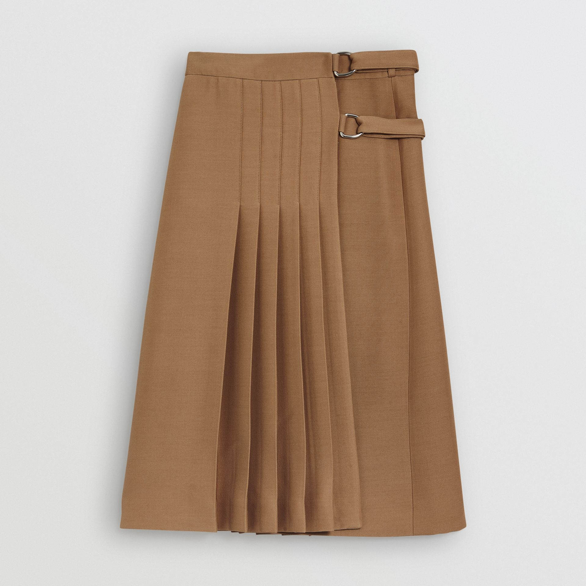 Wool Silk Kilt in Camel - Women | Burberry Canada - gallery image 3