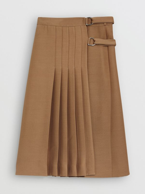 Kilt in lana e seta (Cammello) - Donna | Burberry - cell image 3