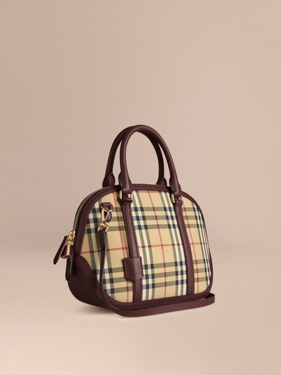 Bolsa Orchard pequena com estampa Horseferry Check Mel/claret Intenso
