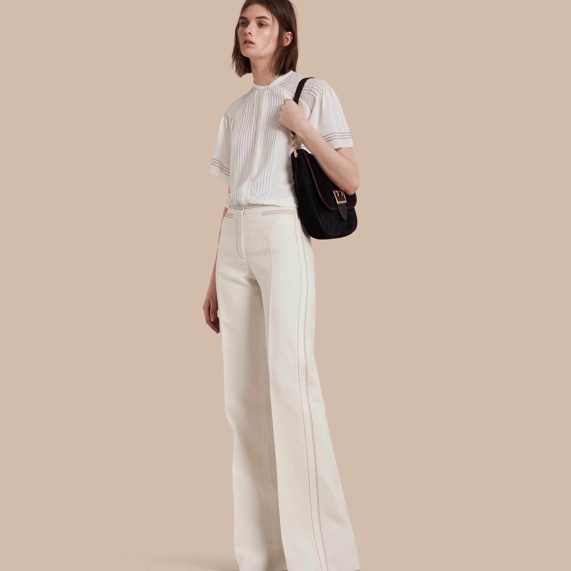 White Wool Silk Wide Leg Trousers - gallery image 1