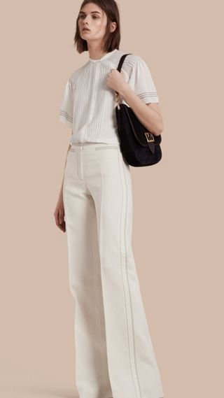 Pantalon large en laine et soie