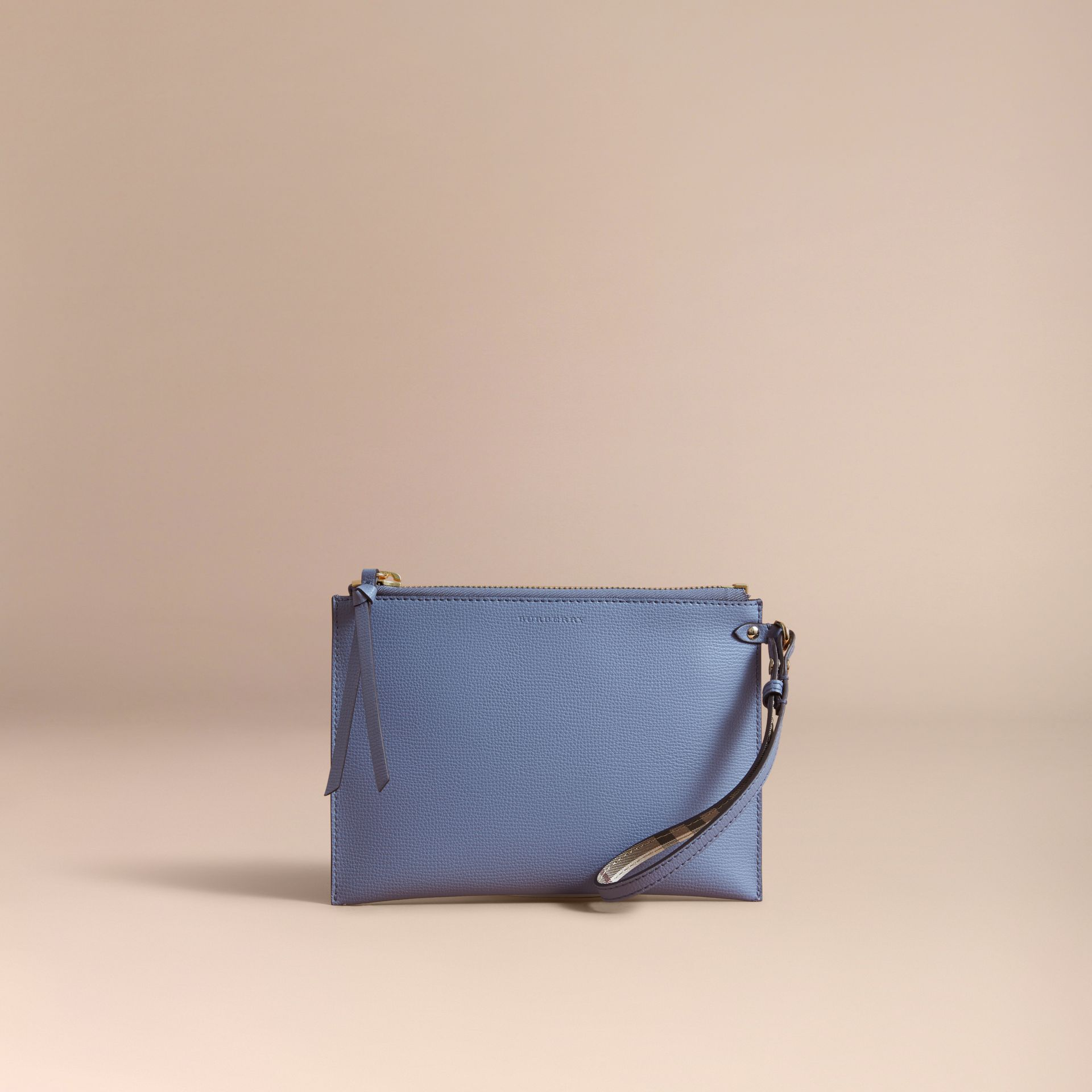 Haymarket Check and Leather Pouch in Slate Blue - Women | Burberry - gallery image 6