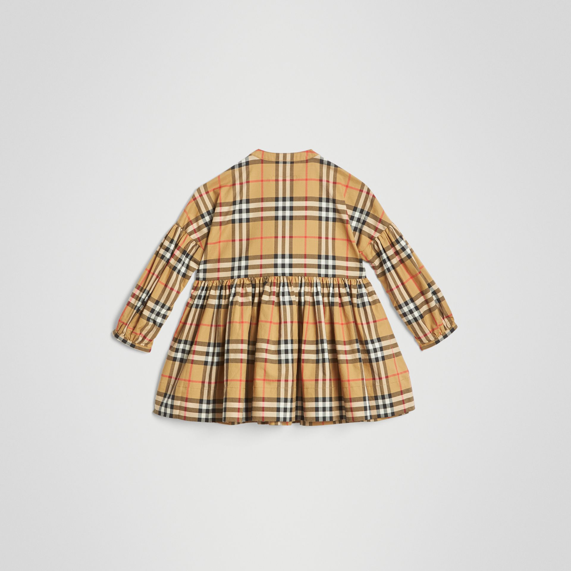 Gathered Sleeve Vintage Check Cotton Dress in Antique Yellow | Burberry - gallery image 3