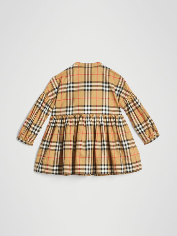 Gathered Sleeve Vintage Check Cotton Dress in Antique Yellow | Burberry United Kingdom - cell image 3