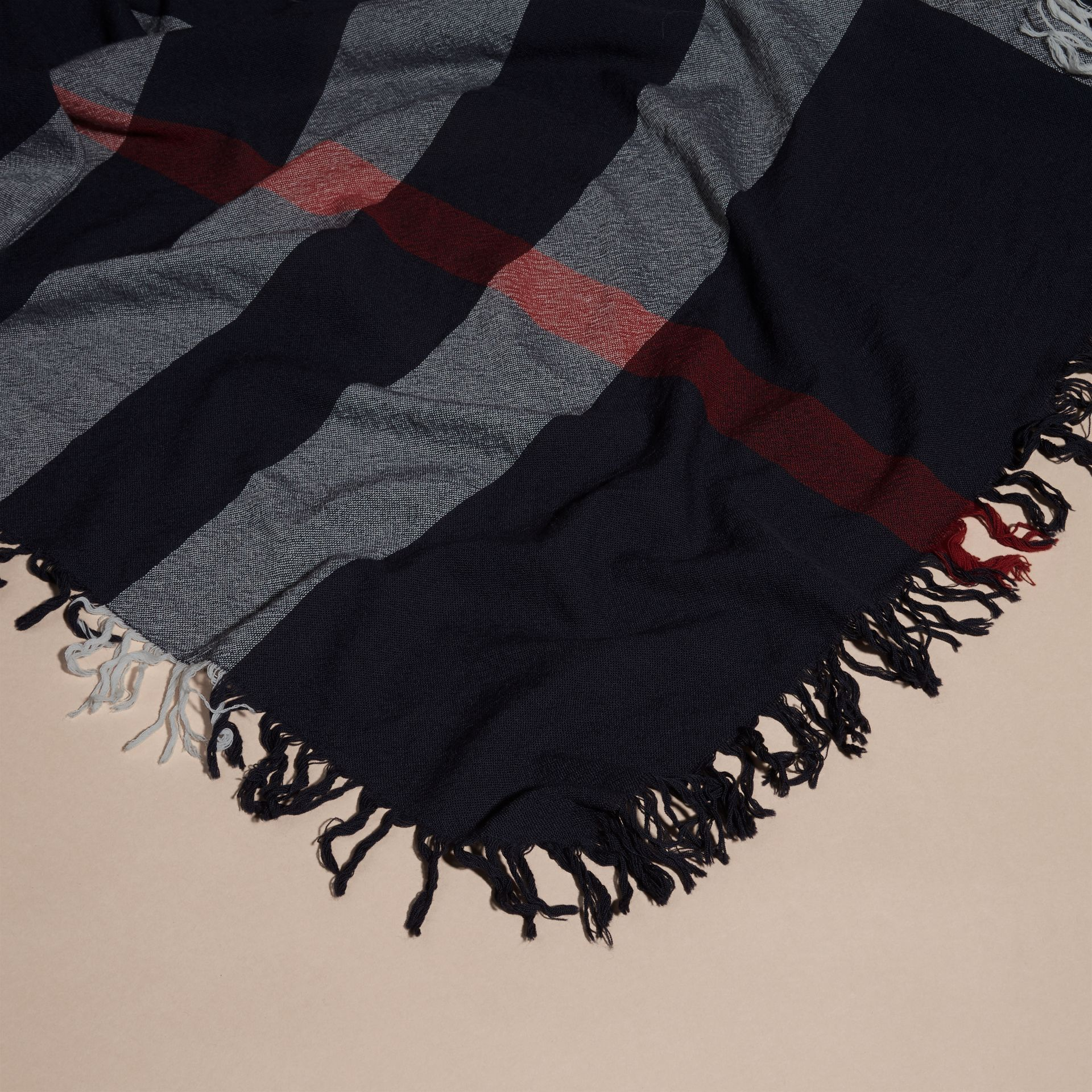 Check Wool Square - Large in Navy | Burberry Canada - gallery image 2