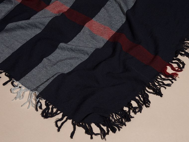 Check Wool Square - Large in Navy | Burberry - cell image 1