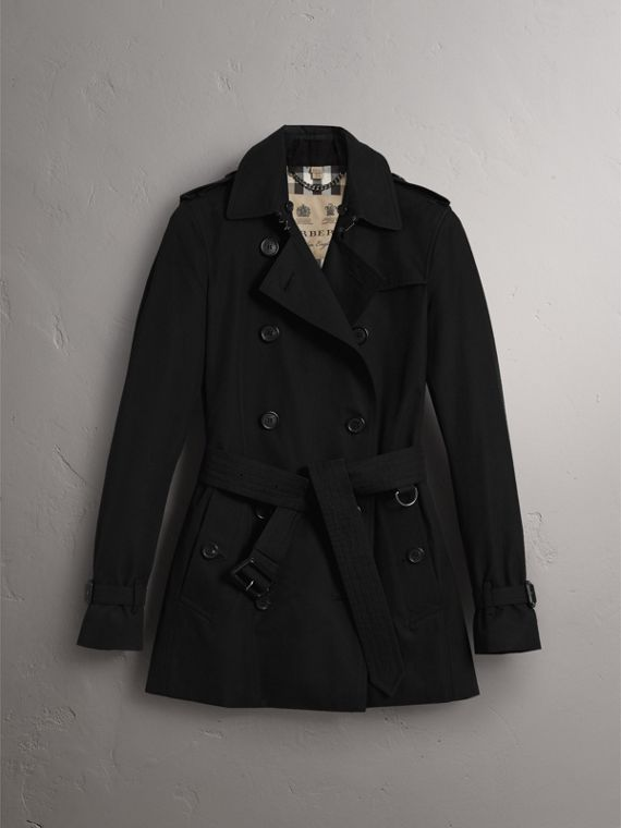 The Kensington – Short Heritage Trench Coat in Black - Women | Burberry - cell image 3