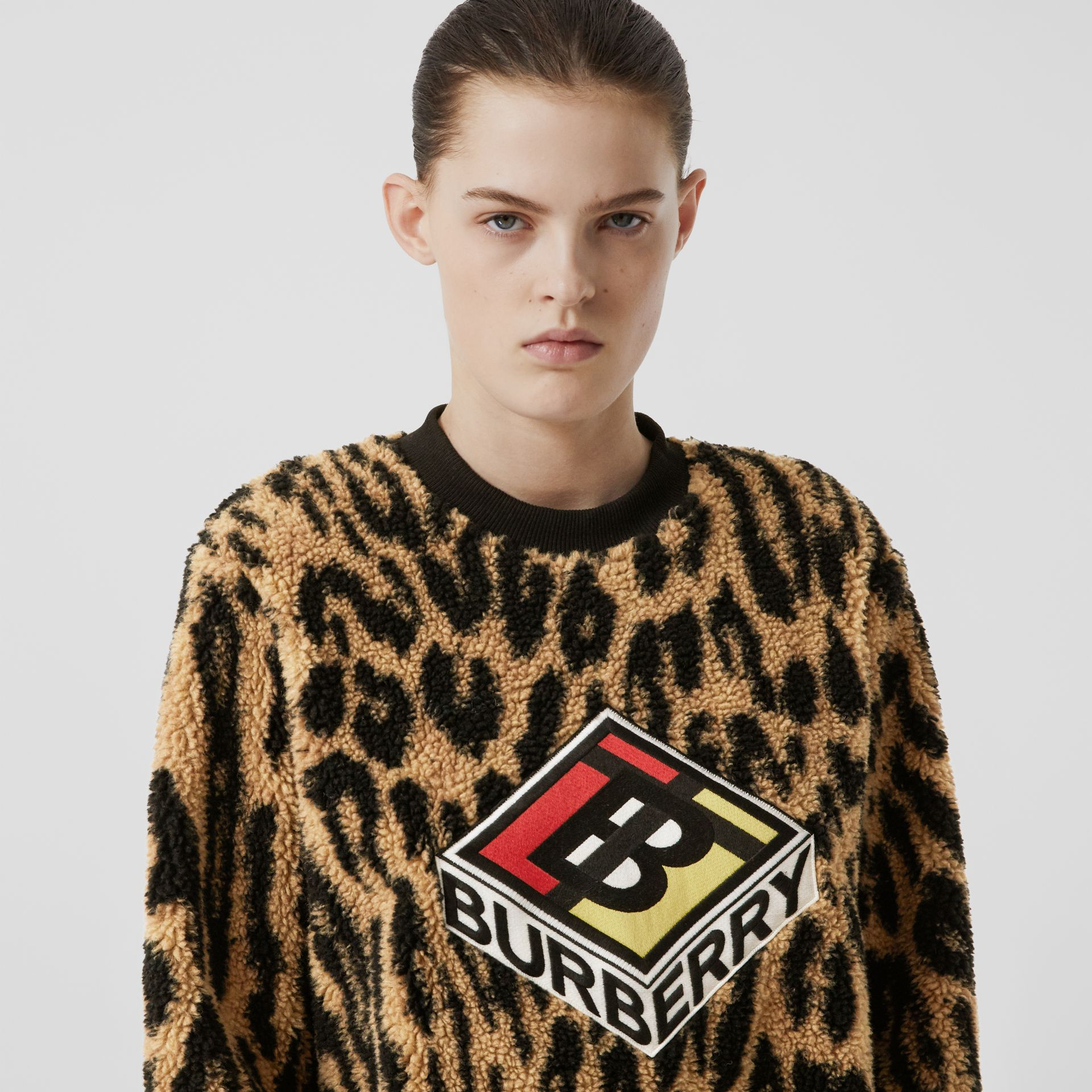 Logo Graphic Leopard Fleece Jacquard Sweatshirt in Dark Mustard - Women | Burberry - gallery image 1