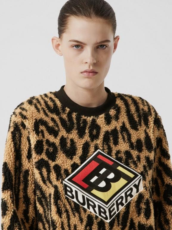 Logo Graphic Leopard Fleece Jacquard Sweatshirt in Dark Mustard - Women | Burberry - cell image 1