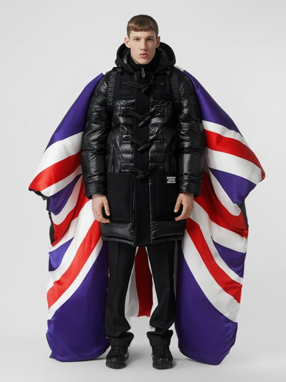 Union Jack and Logo Print Oversized Puffer Cape in Multicolour