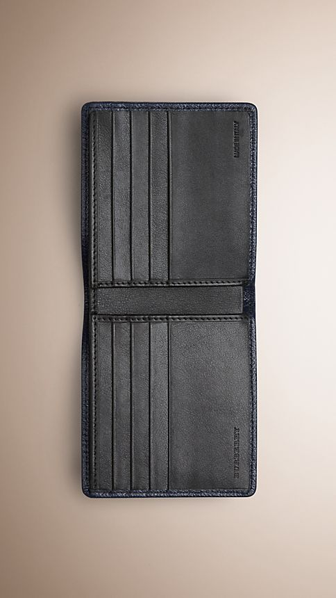 Navy London Leather Folding Wallet - Image 3