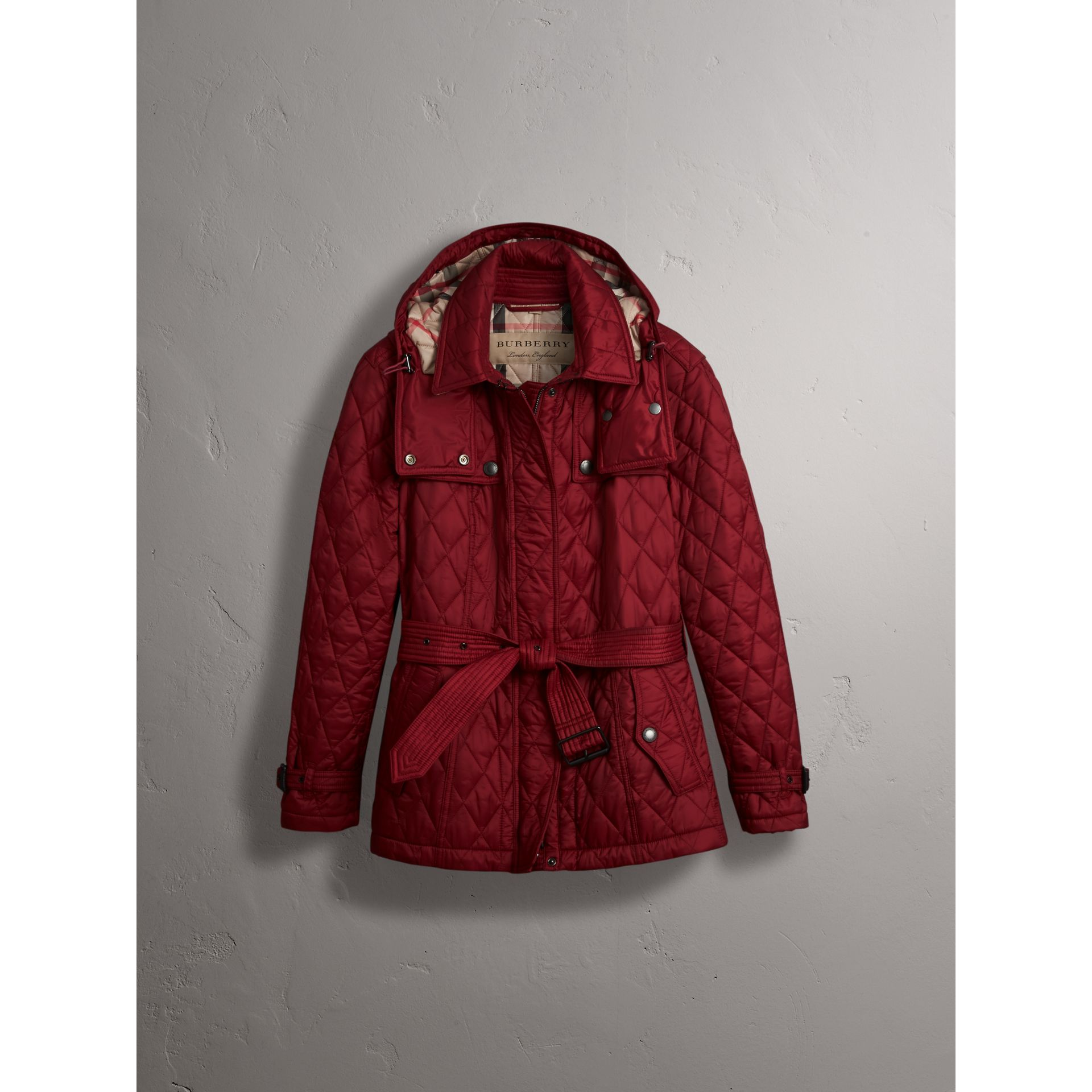 Quilted Trench Jacket with Detachable Hood in Dark Crimson - gallery image 4