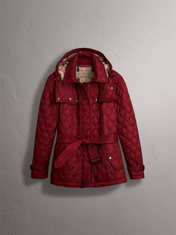 Quilted Trench Jacket with Detachable Hood in Dark Crimson - cell image 3