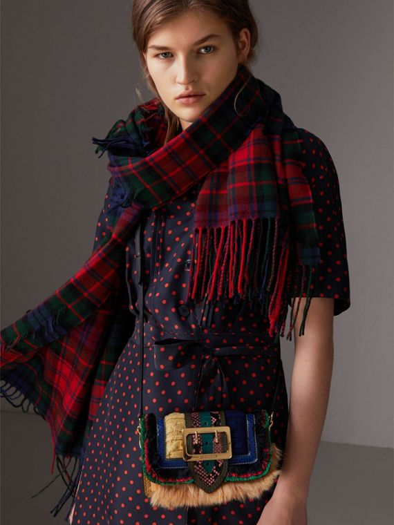 The Patchwork in Shearling and Knitted Wool in Copper Yellow - Women | Burberry Singapore - cell image 3